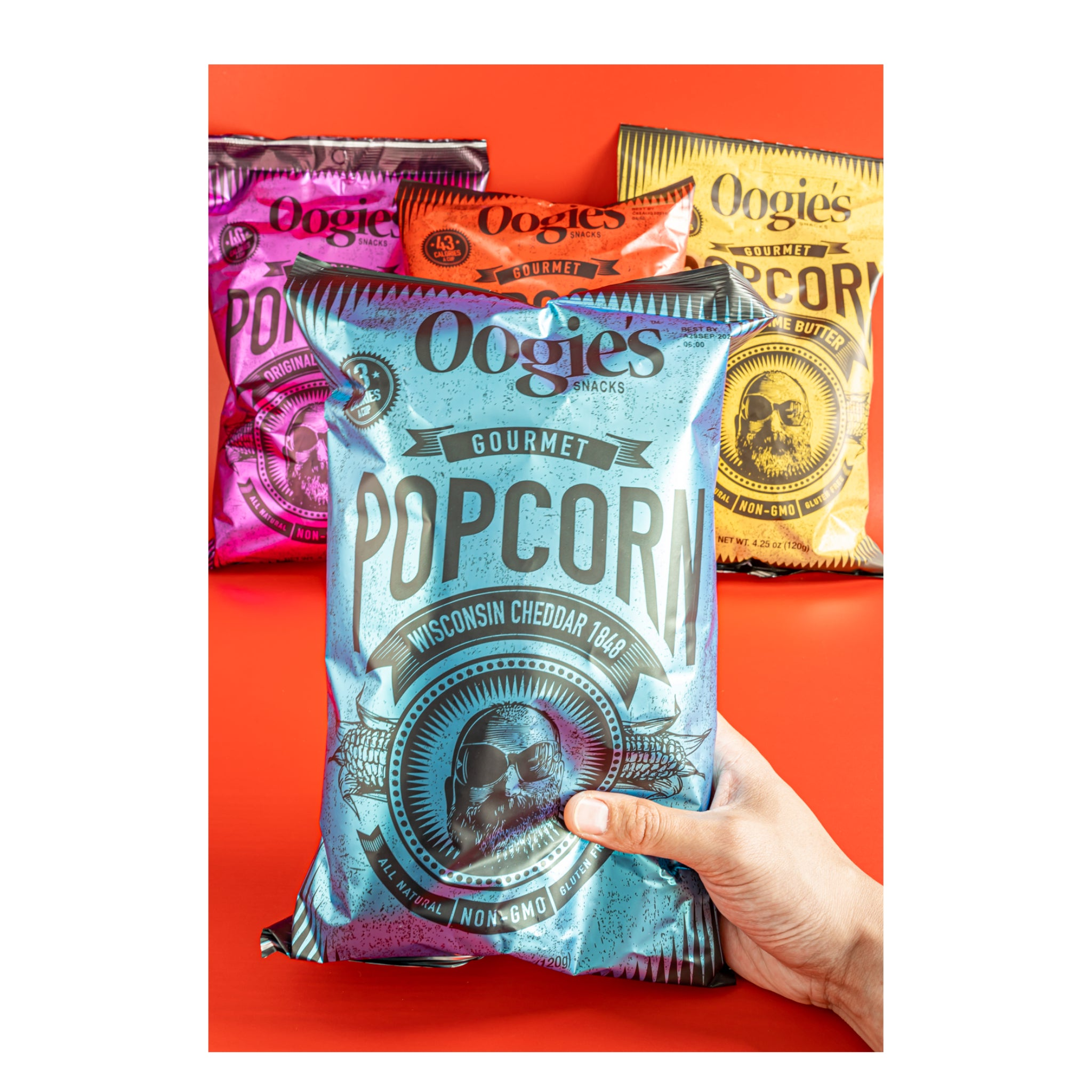 Four fan favorite Oogie's popcorn flavors