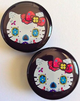 Day of the Dead / Sugar Skull Kitty Plugs