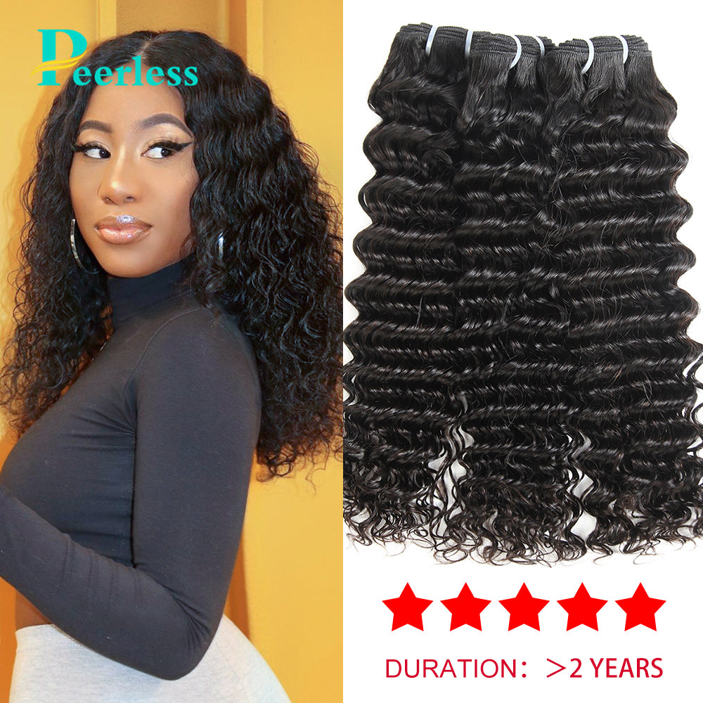 Peerless Virgin Hair Deep Wave Human Hair Weaves 3 Bundles Deal 10-28 Inches Natural Color For Black Women Hair Extensions