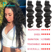 Load image into Gallery viewer, Peerless Virgin Hair Body Wave Human Hair 3 Bundles Deals Natural Color For Black Women Hair Extensions