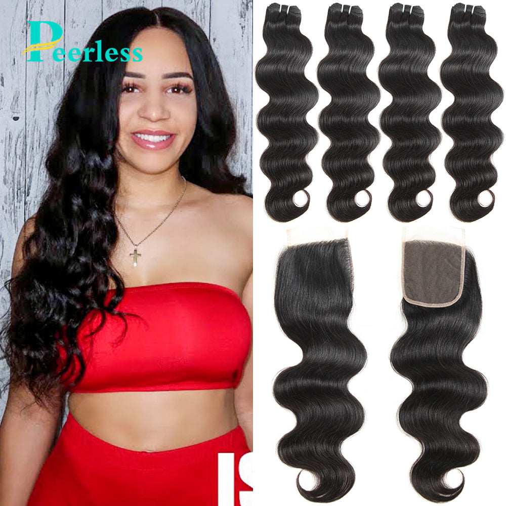 Peerless Virgin Hair Body Wave Human Hair Weaves 4 Bundles With 4*4 Closure 100% Raw Human Hair Extensions With Medium Brown Swiss Lace For Black Women Double Machine Wefts
