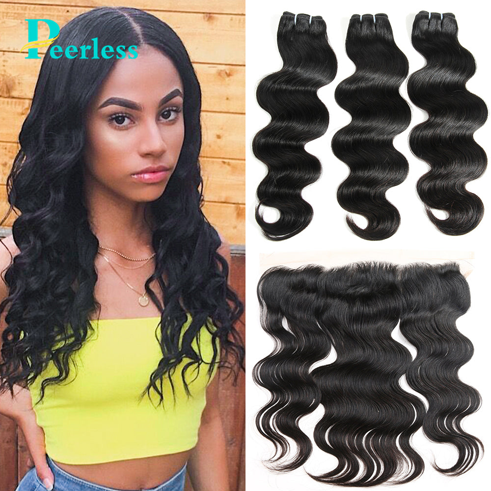 Peerless Virgin Hair Body Wave 3 Bundles With 13*4 Frontal With Medium Brown Swiss Lace 100% Raw Human Hair Extensions Double Machine Wefts