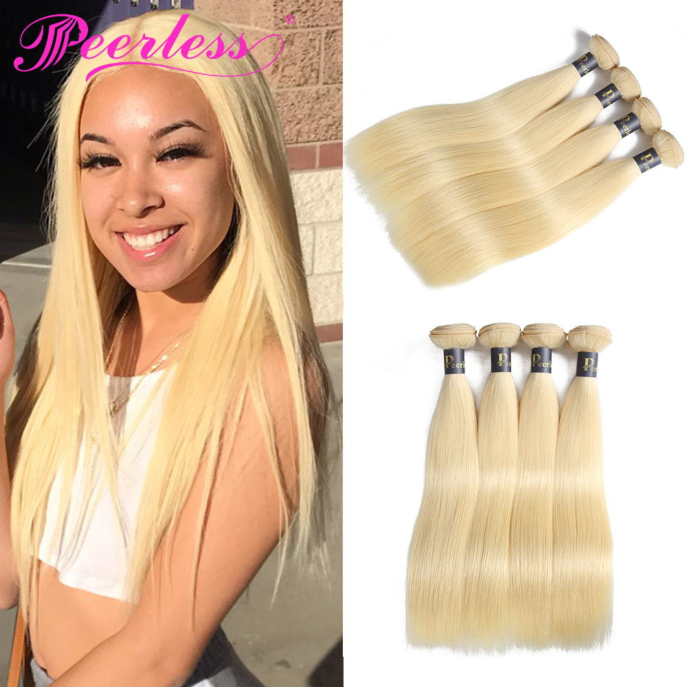 Peerless Remy Human Hair 613 Blonde Weaves 4 Bundles Deal For Women Natural Colored Human Hair Extensions