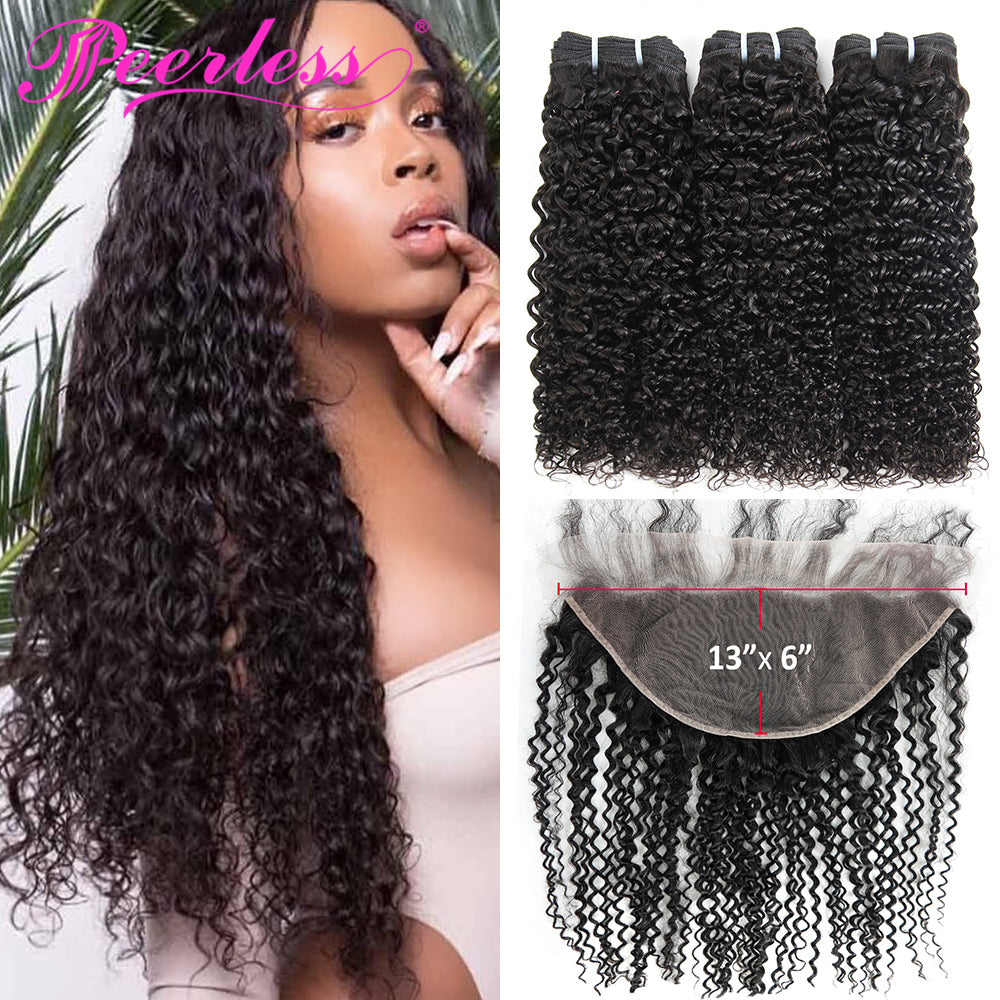 Peerless Kinky Curly Remy Human Hair Weaves 3 Bundles With 13*6 Lace Frontal Medium Brown Swiss Lace 100% Natural Black Color Human Hair Extensions For Women