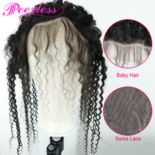 Load image into Gallery viewer, Peerless Kinky Curly Remy Human Hair Weaves 3 Bundles With 13*6 Lace Frontal Medium Brown Swiss Lace 100% Natural Black Color Human Hair Extensions For Women