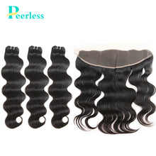 Load image into Gallery viewer, Peerless Virgin Hair Body Wave 3 Bundles With 13*4 Frontal With Medium Brown Swiss Lace 100% Raw Human Hair Extensions Double Machine Wefts