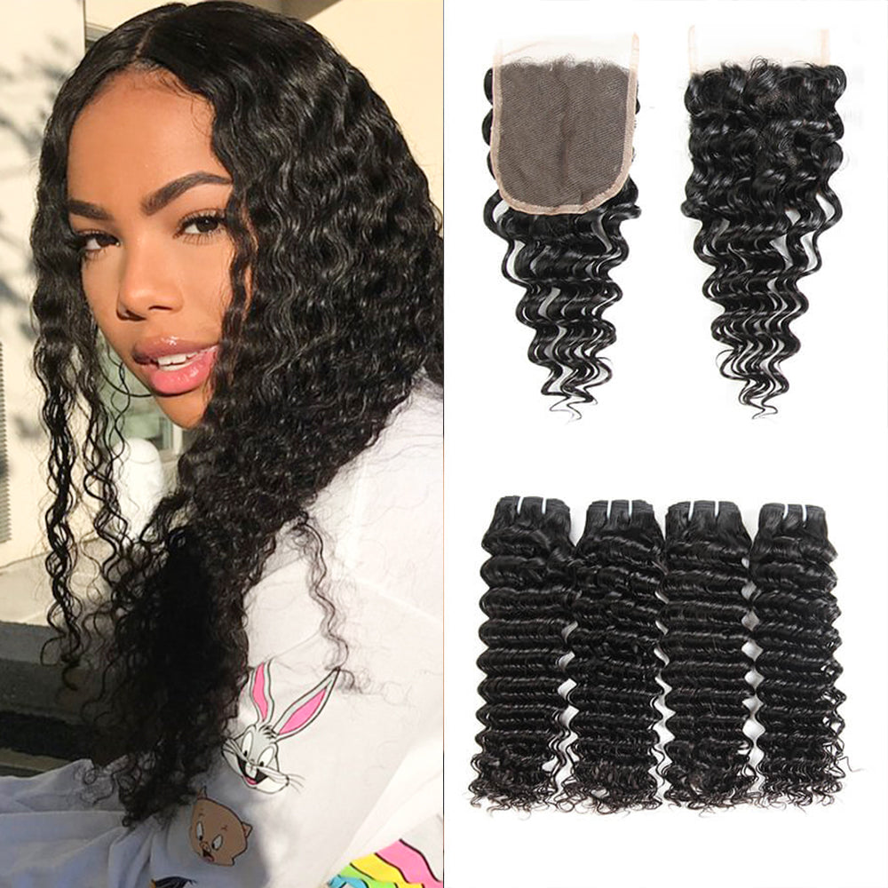 Peerless Virgin Hair Deep Wave Human Hair Extensions 4 Bundles With Closure 4*4 Medium Brown Swiss Lace For Black Women Natural Color Double Machine Wefts
