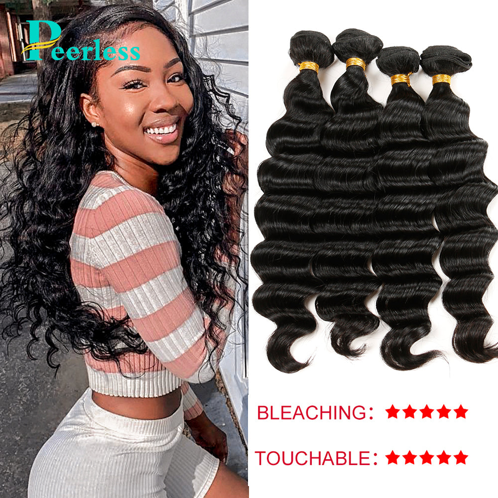 Peerless Virgin Hair Loose Wave Human Hair Weaves 4 Bundles Deal Natural Color Human Hair Extensions For Black Women