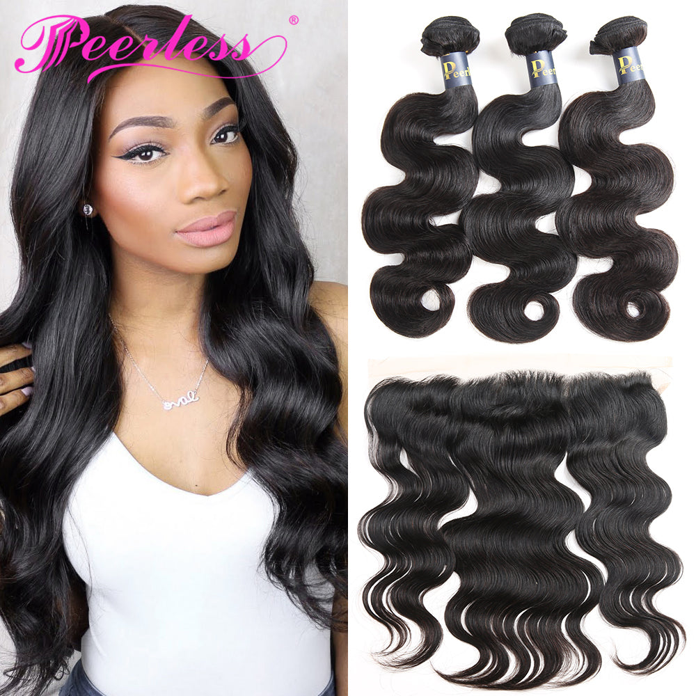 Peerless Body Wave Remy Human Hair Weaves 3 Bundles With 13*4 Lace Frontal Medium Brown Swiss Lace 100% Human Hair Natural Color Wefts