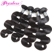 Load image into Gallery viewer, Peerless Remy Body Wave Human Hair Weaves 4 Bundles Natural Color 100% Human Hair Extensions For Black Women