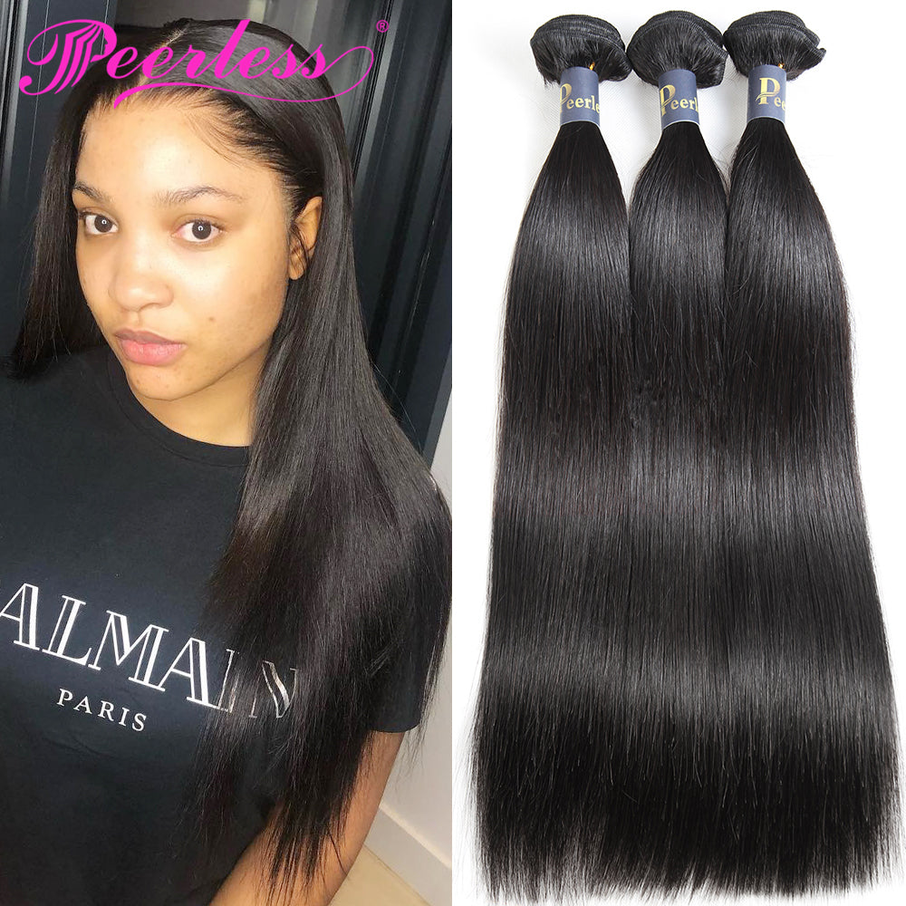 Peerless Straight Remy Human Hair Weaves 3 Bundles Deals For Black Women Natural Color Human Hair Extensions