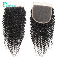 Load image into Gallery viewer, Peerless Kinky Curly Virgin Hair 4*4 Lace Closures 10-20 Inches Free Part And Middle Part Medium Brown Lace 100% Unprocessed Human Hair Extensions