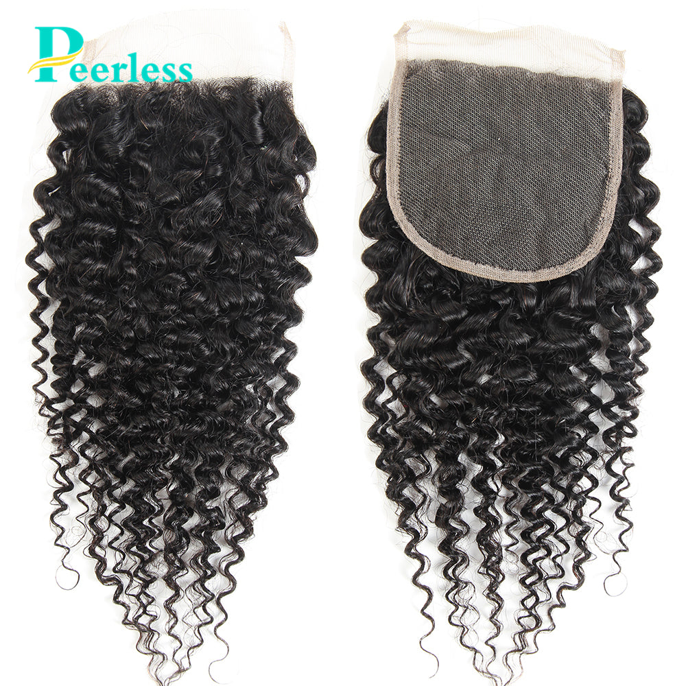 Peerless Kinky Curly Virgin Hair 4*4 Lace Closures 10-20 Inches Free Part And Middle Part Medium Brown Lace 100% Unprocessed Human Hair Extensions