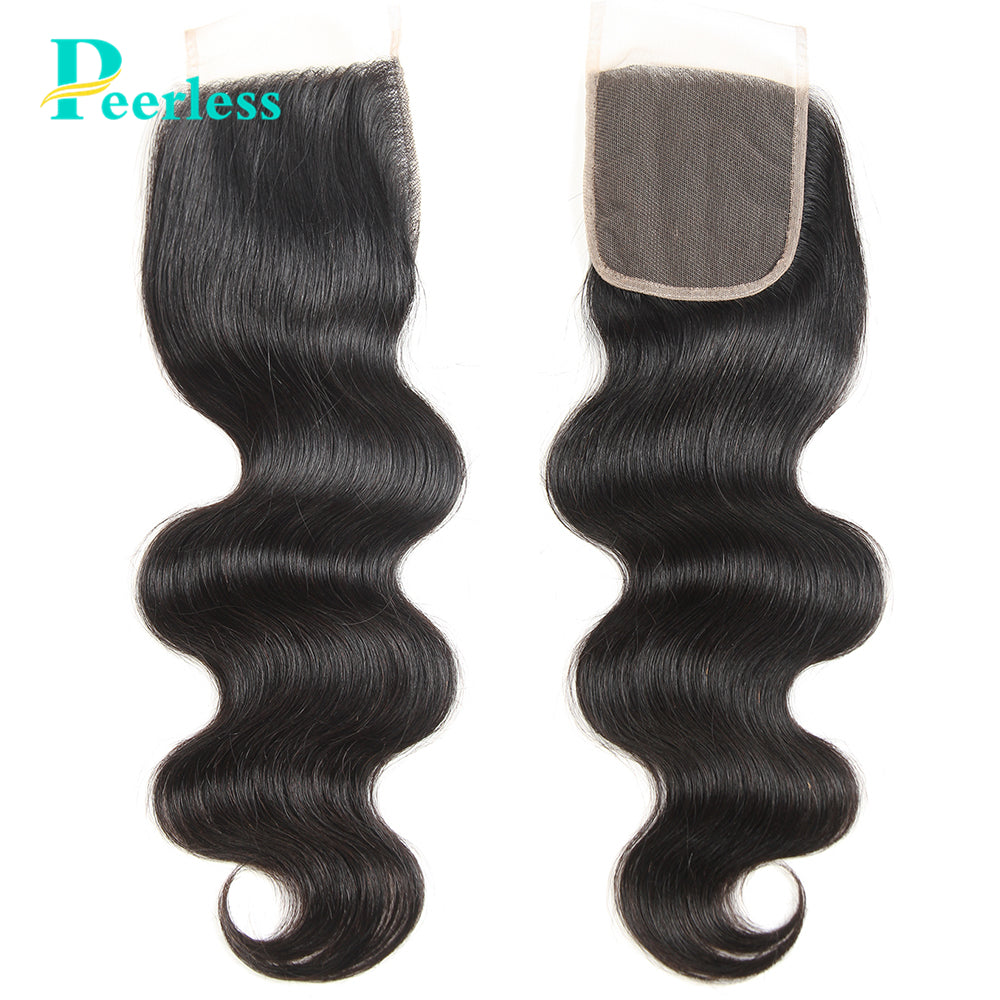 Peerless Body Wave Virgin Hair 4*4 Lace Closure 100% Unprocessed Human Hair Extensions