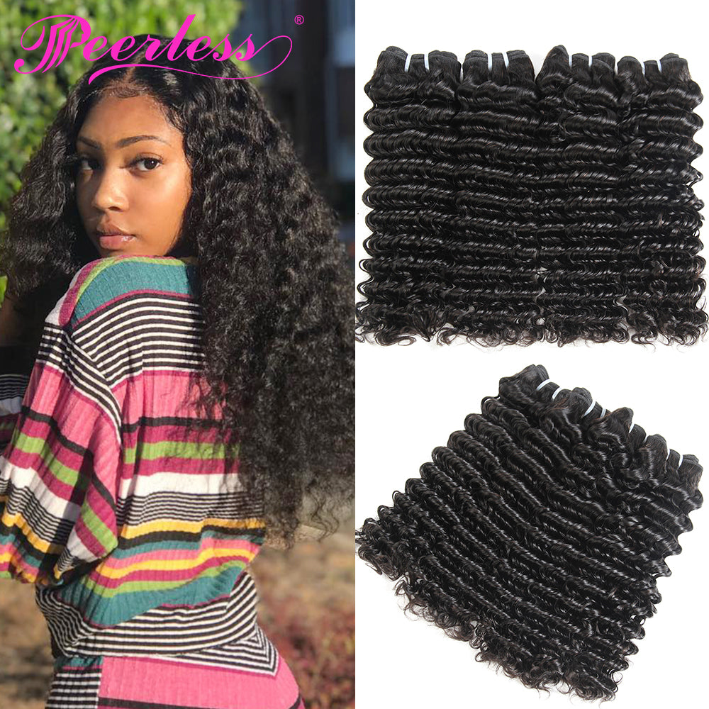Peerless Remy Deep Wave Human Hair Weaves Bundles 4 Pieces 10-28 Inches Natural Color Human Hair Extensions Double Maching Wefts