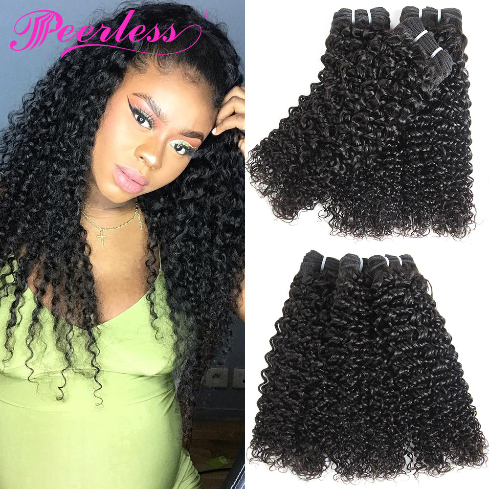 Peerless Kinky Curly Remy Human Hair 3 Bundles Deal 10-28 Inches Natural Color Human Hair Weaves For Black Women