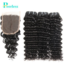 Load image into Gallery viewer, Peerless Virgin Hair Deep Wave Human Hair Extensions 3 Bundles With 4*4 Swiss Lace Closure Free Part And Middle Part 100% Human Hair For Black Women