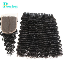 Load image into Gallery viewer, Peerless Virgin Hair Deep Wave Human Hair Extensions 4 Bundles With Closure 4*4 Medium Brown Swiss Lace For Black Women Natural Color Double Machine Wefts