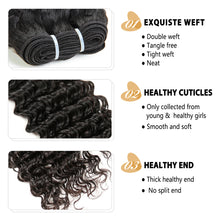 Load image into Gallery viewer, Peerless Remy Hair Deep Wave Human Hair Weaves 3 Bundles With 4*4 Closure Medium Brown Swiss Lace 100% Human Hair Extensions For Black Women
