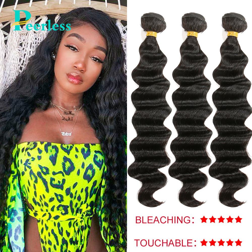 Peerless Virgin Hair Loose Wave Human Hair 3 Bundles Deals Natural Color Hair Weaves For Black Women Human Hair Extensions