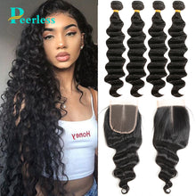 Load image into Gallery viewer, Peerless Virgin Hair Loose Wave 4 Bundles With Closure Medium Brown 4*4 Swiss Lace 100% Raw Human Hair Extensions For Black Women Double Machine Wefts