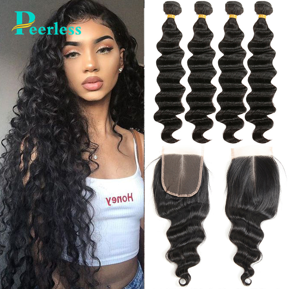 Peerless Virgin Hair Loose Wave 4 Bundles With Closure Medium Brown 4*4 Swiss Lace 100% Raw Human Hair Extensions For Black Women Double Machine Wefts
