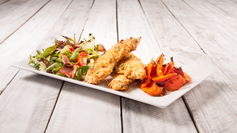 010 - Crispy Chicken Strips with  Sweet Potato & Salad