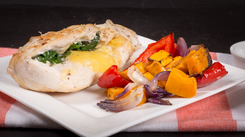 056 - Herb Stuffed Chicken with Roast Veggies