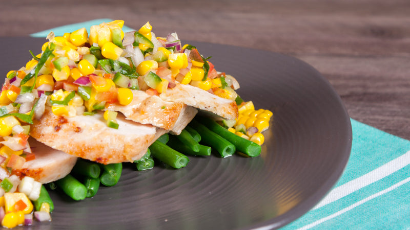 107 - Grilled Chicken with Corn Salsa and Beans