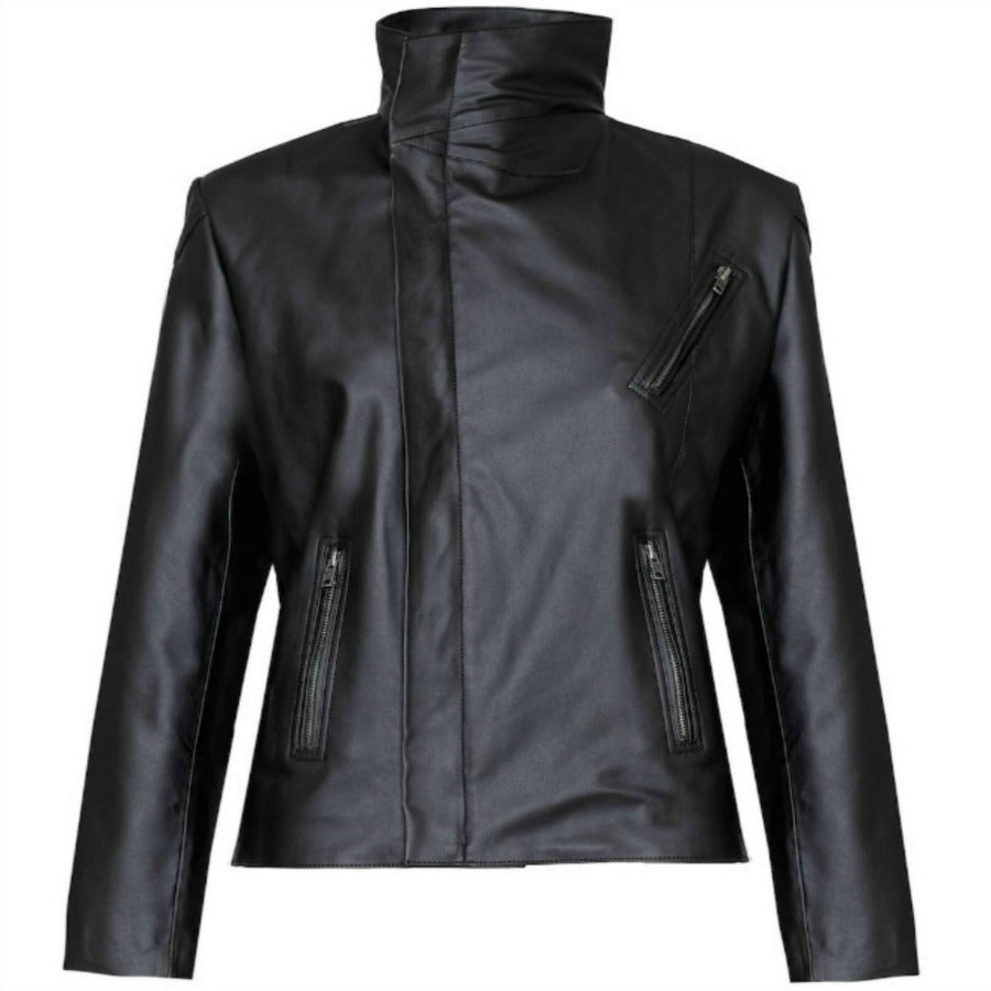 Sustainable Eco Vegan Leather High-neck Biker Jacket Louise B2B