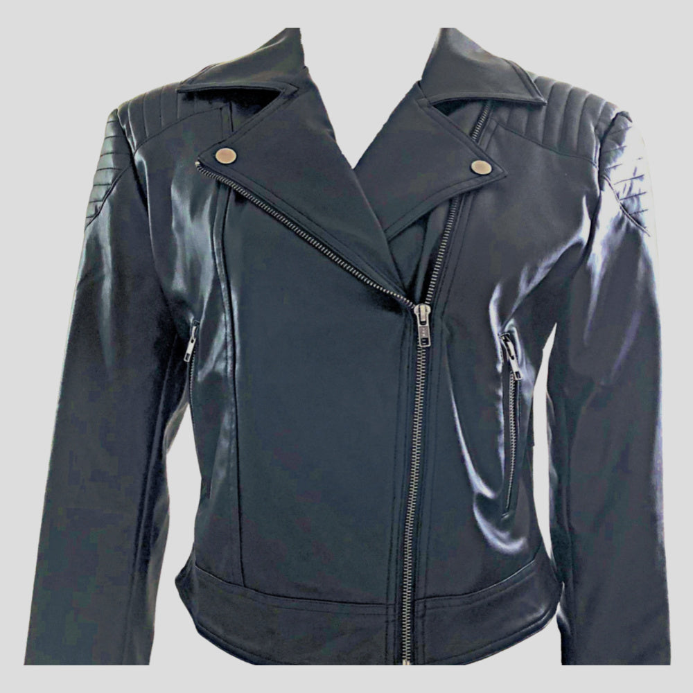 Womens Leather Biker Jacket l Sustainable Eco Leather l