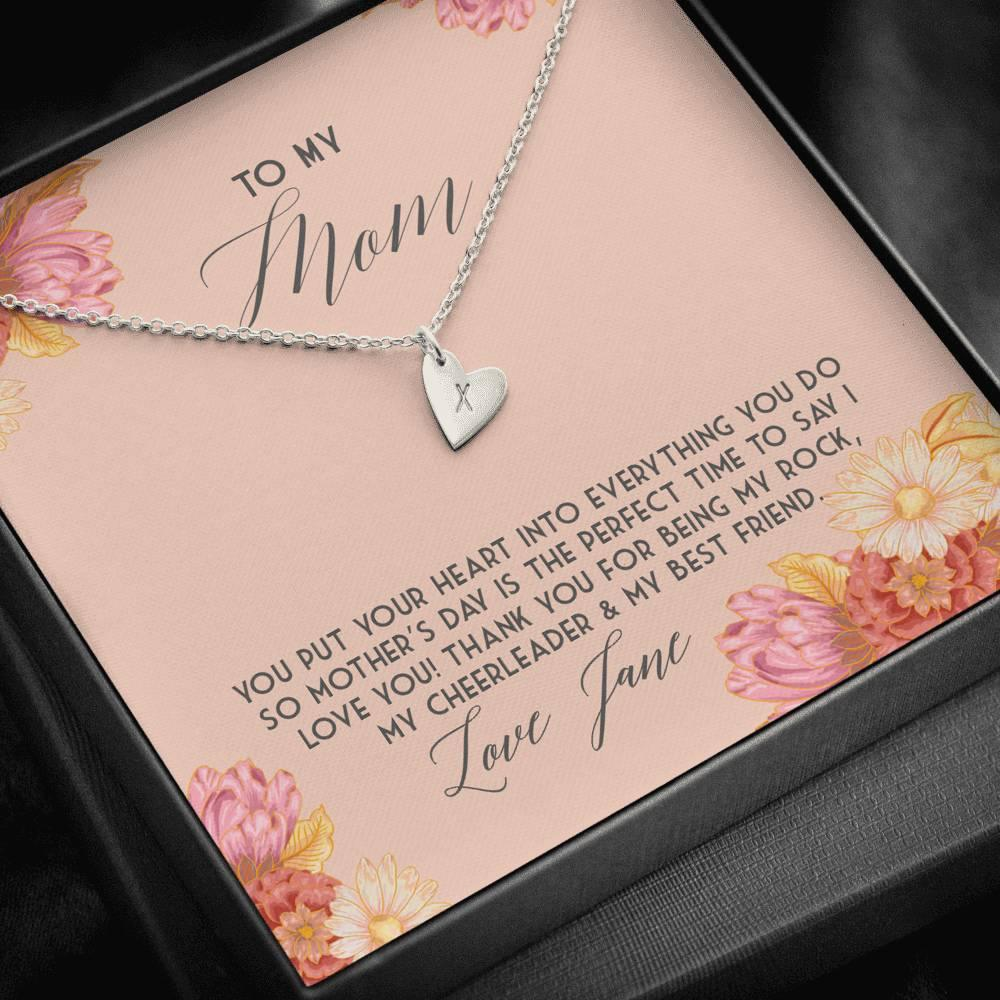 To My Mom Mother's Day Sweetest Hearts Necklace
