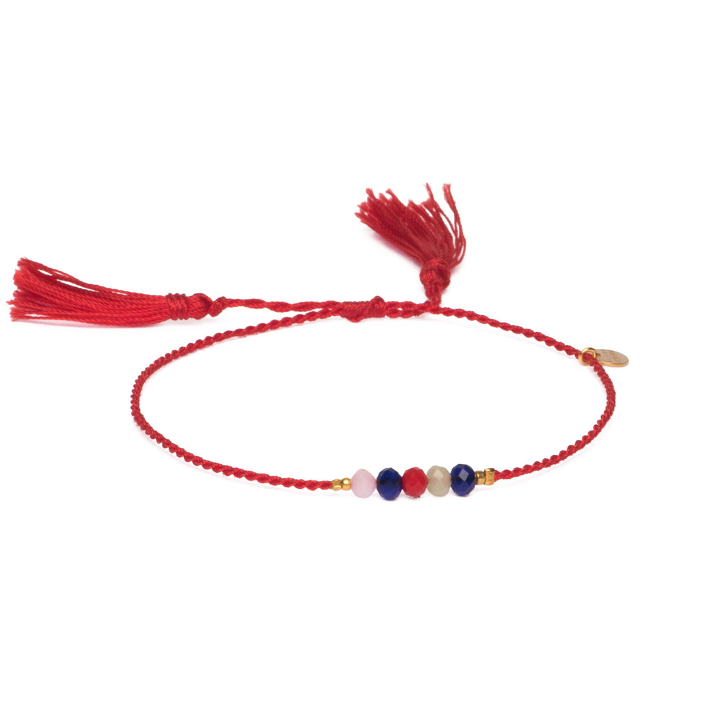 Armband Hello Tassel – Red Mix