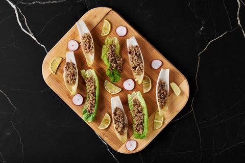 Belgian Endive cups with Carolina Peas and Rice
