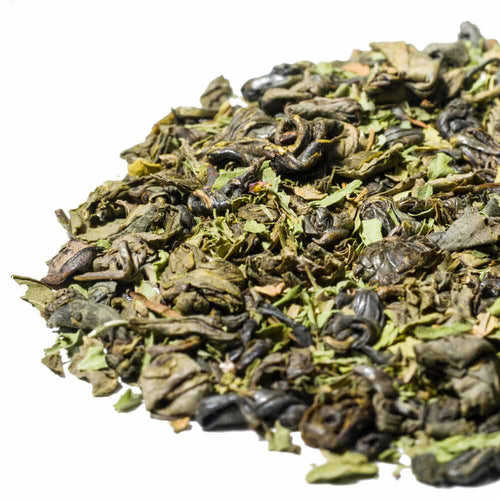 Loose Leaf Tea, a blend of spearmint with rolled green tea