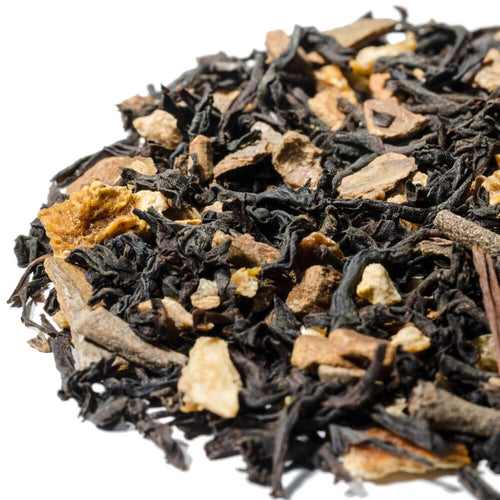 A house blend of loose leaf black tea and various spices.s