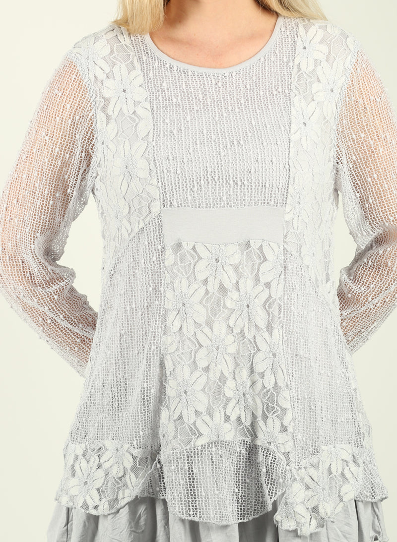 Floral Lace Ruffle Tunic