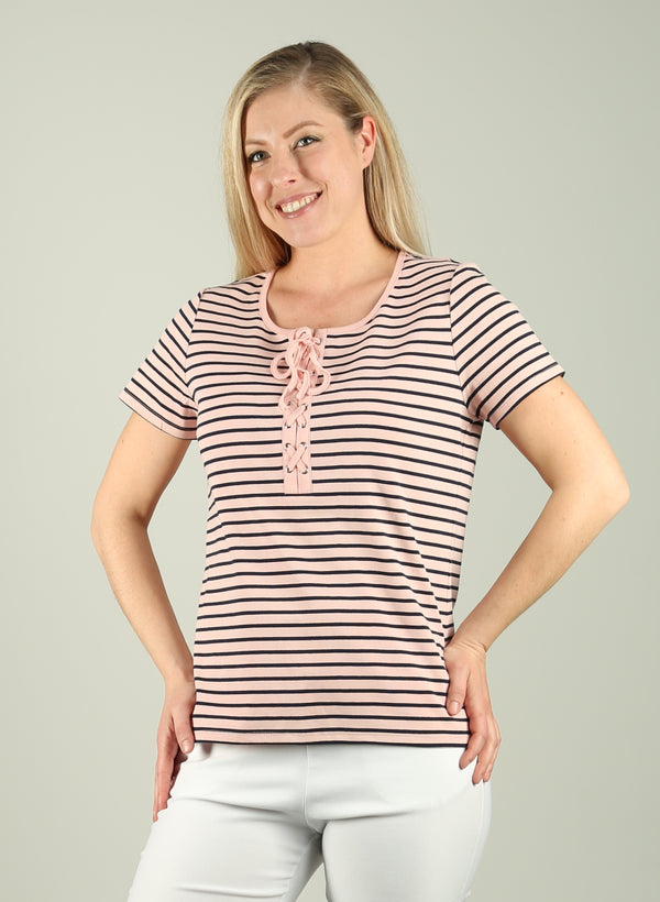 Stripe Tie Detail T-shirt