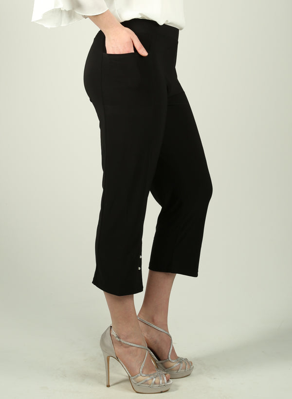 Faux Pearl Detail Capri Pants