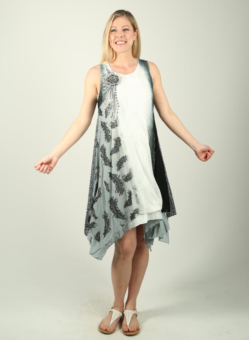 Print Layer Dress with Floral Brooch