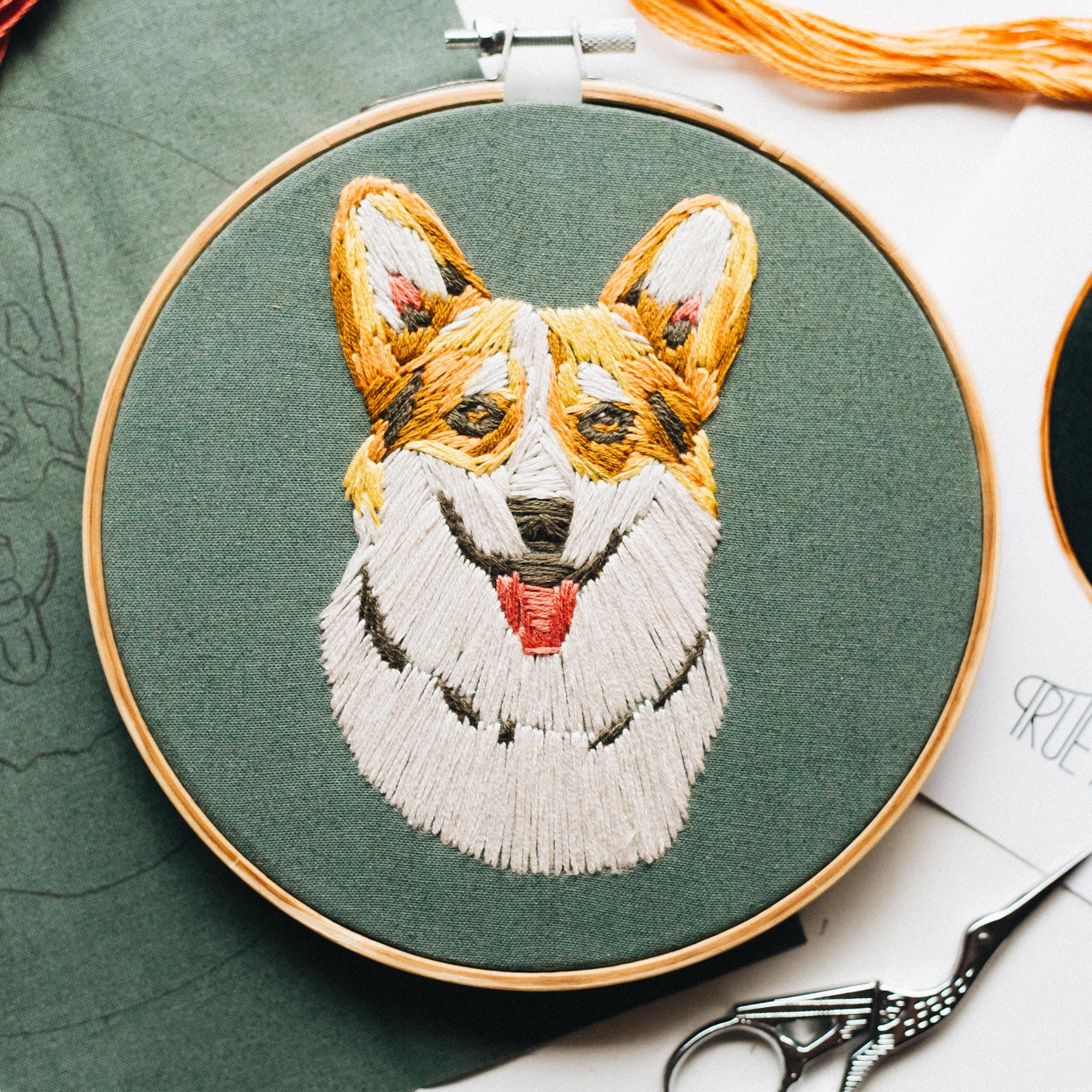 "Hand Embroidery KIT ""CORGI"""