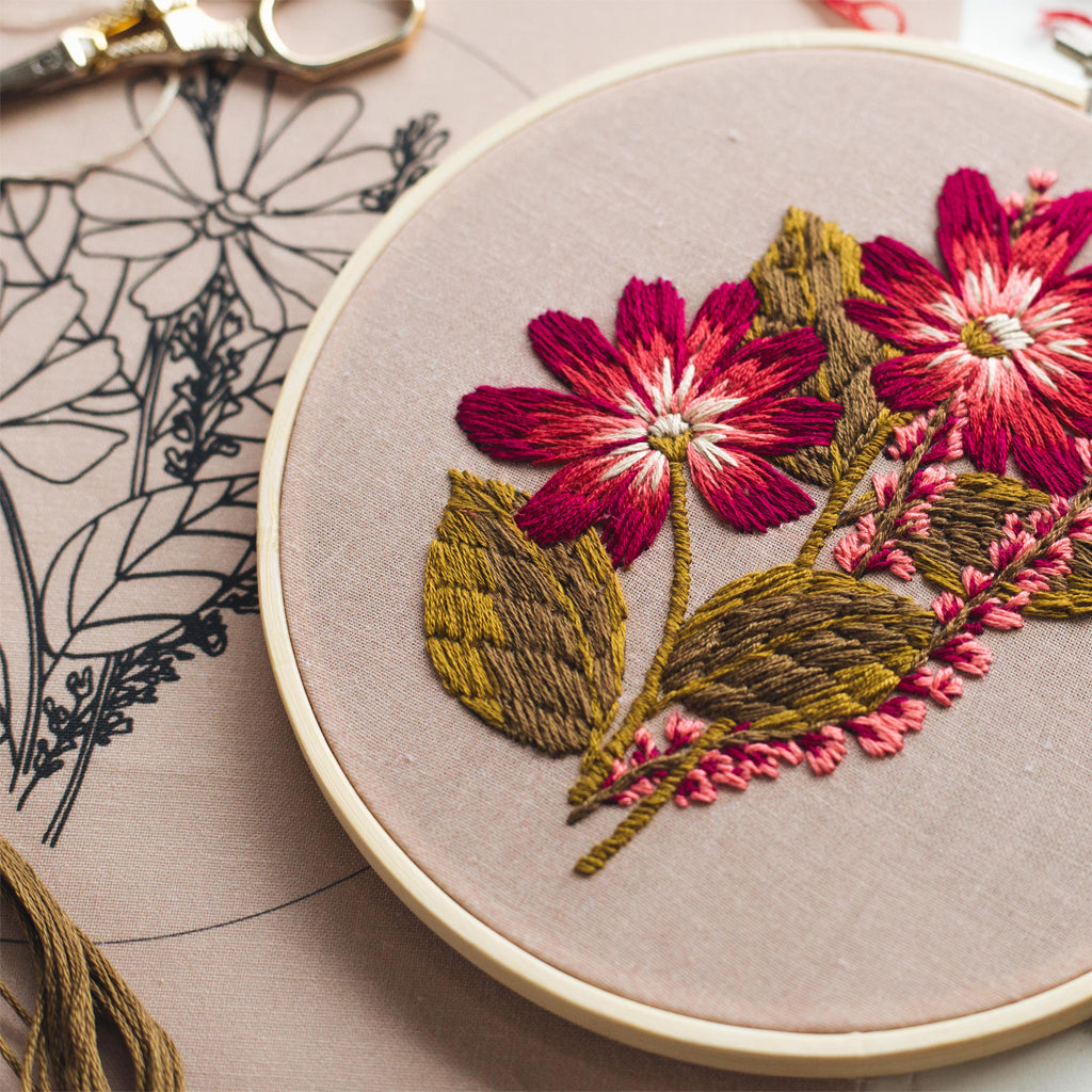 "Hand Embroidery KIT ""Pink Burst"""