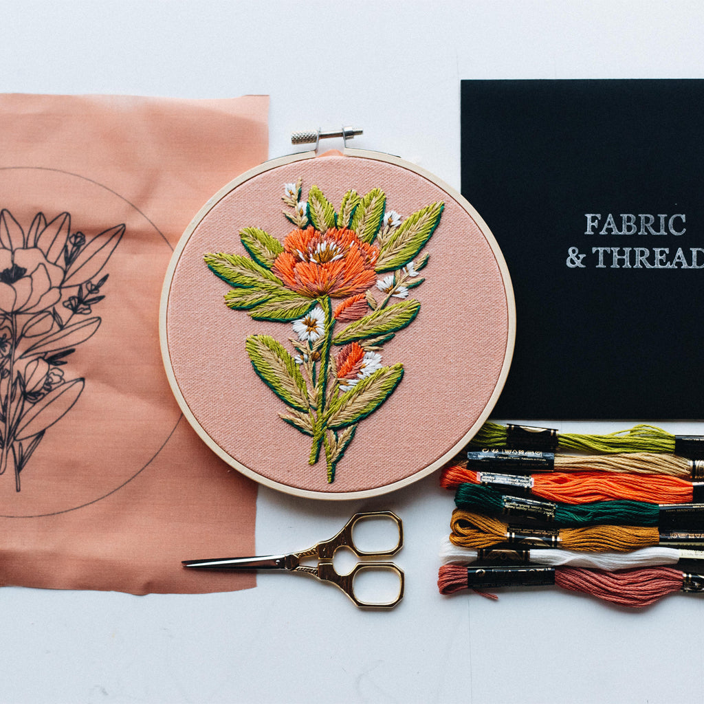 "Hand Embroidery KIT ""Soft Orange"""