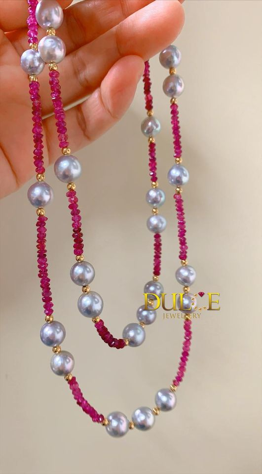 18K Gold Rubellite & Japan Akoya Pearls Necklace