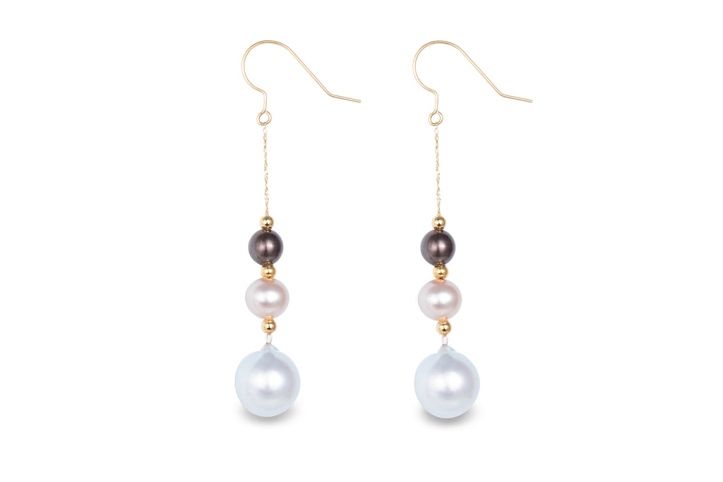 18K Gold Tahitian / Freshwater/ Southsea Pearls Earrings