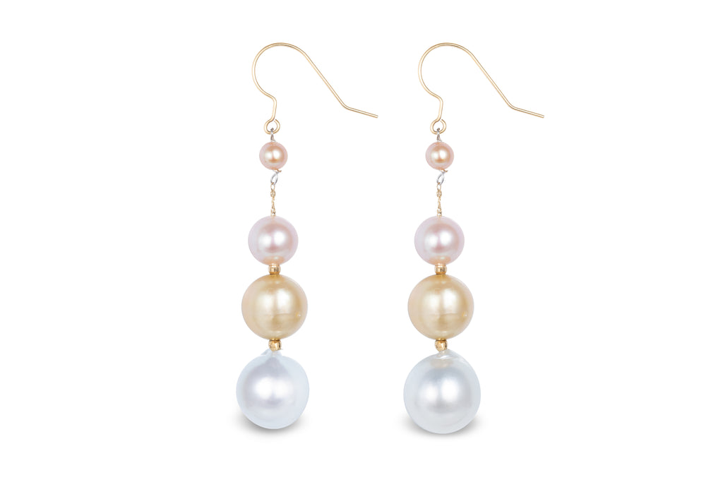 18K Gold Freshwater & Southsea Pearls Earrings