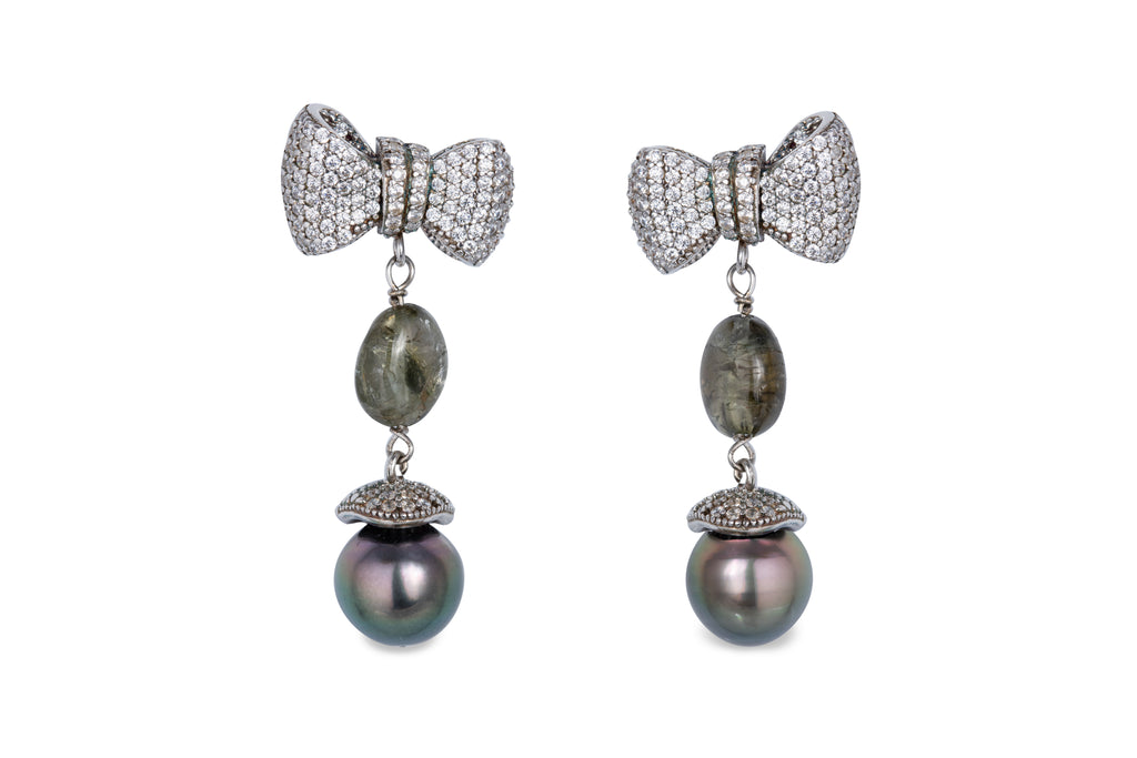 Silver Tourmaline Tahitian Pearls Earrings
