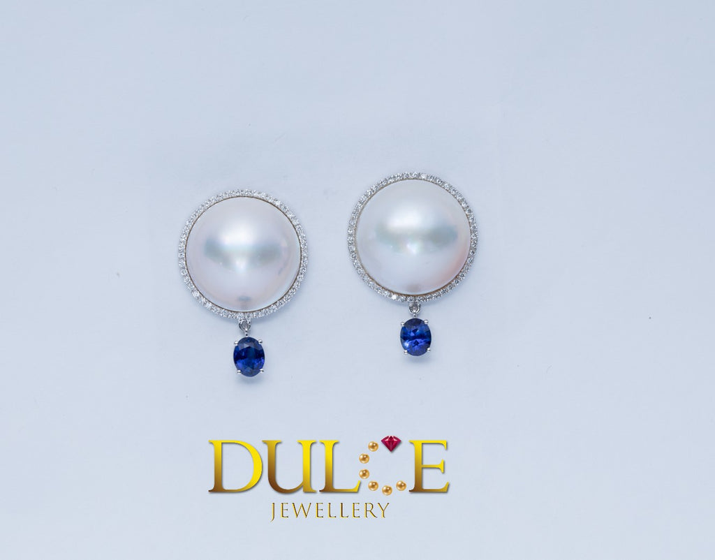 18K Gold Japan Mabe Pearl & Blue Sapphire Diamond Earrings