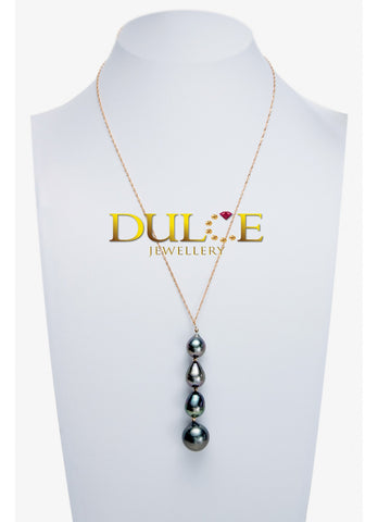 18K Gold Tahitian Pearls Necklace