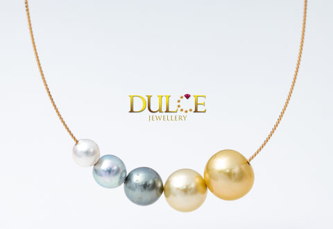 18K Gold Tahitian/ Southsea/ Akoya Pearl Necklace (Length & pearls can be adjusted)